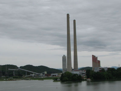 stacks to a coal plant
