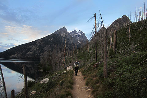 hiker walking along the Jenny Lake Trail toward the Catherdral Peaks