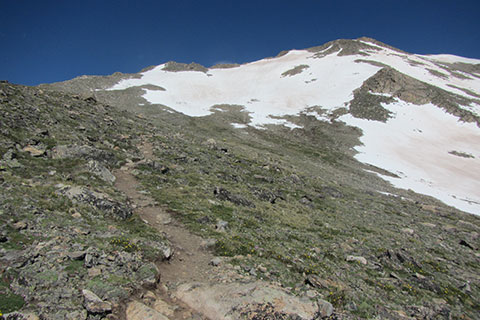 The Southeast Slopes of Mount Massive's Upper Basin from the trail