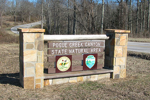 Pogue Creek Trailhead sign