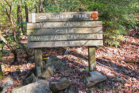 South Rim Trail sign